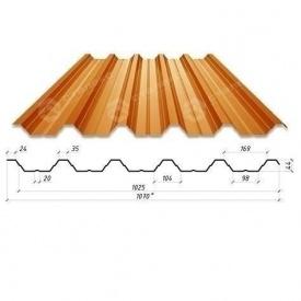 Профнастил Сталекс Н-44 1070/1025 мм 0,50 мм PE Польша (Acelor Mittal) (RAL8004/медно-коричневый)