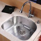 Комплект кухонный Kraus KBU10-KPF2220-KSD30CH умывальник+смеситель