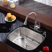 Комплект кухонный Kraus KBU12-KPF2220-KSD30CH умывальник+смеситель