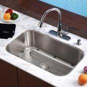 Комплект кухонный Kraus KBU14-KPF2220CH-KSD30CH умывальник+смеситель