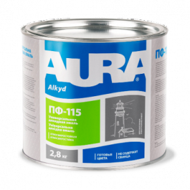 Емаль Aura ПФ-115 А 0,9 кг білий матовий