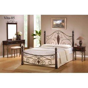 Кровать ONDER MEBLI Vita-05 1600х2000 мм античное золото/орех