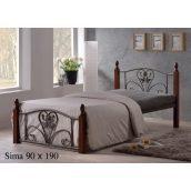 Кровать ONDER MEBLI Sima 900х1900 мм античное золото/орех
