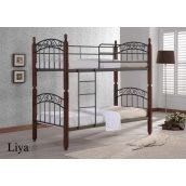 Двухъярусная кровать ONDER MEBLI DD Liya 1000х2000х1800 мм черный/вишня