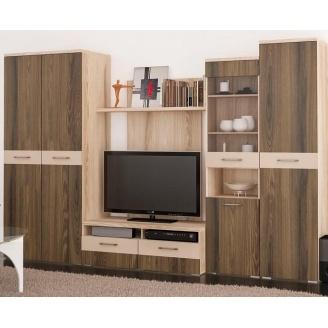 Гостиная Мебель-Сервис Болония 3112х608х2100 мм десира аш темная/десира аш светлая