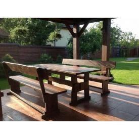 Комплект мебели из дерева для площадки под мангал на даче