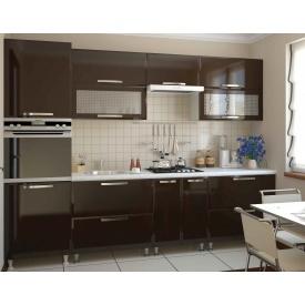 Кухня СОКМЕ София Престиж 2,6 м без столешницы шоколад глянец
