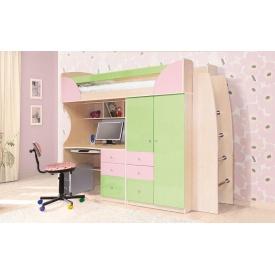 Детская Мир Мебели Комби 2260x1970x880 мм фисташка/розовая