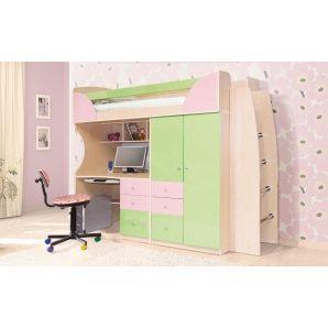 Дитяча Світ Меблів Комбі 2260x1970x880 мм фісташка/рожева