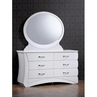 Будуарный столик Domini Эвита с зеркалом 1120х300х990 мм белый глянец