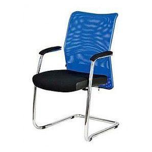 Офисное кресло AMF Аэро сиденье Сетка черная/спинка Сетка синяя 570х520х920 мм хром