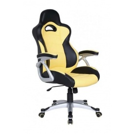 Кресло AMF Форсаж 1 PU черный 70x72x122 см желтые вставки
