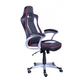 Кресло AMF Драйв PU черный 68x70x118 см белые вставки