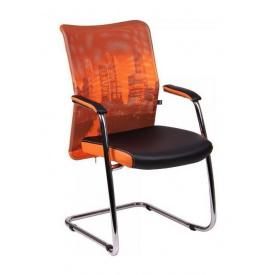 Кресло AMF Аэро CF сетка черная Zeus 045 Orange/сетка оранж-Skyline 57x62x96 см хром