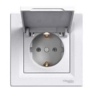 Розетка Schneider Electric Asfora EPH3100121 с заземлением и крышкой белый