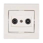 Розетка TV/R-SAT Schneider Electric Anya AYA3400223 проходная с затуханием 81,5х81,5х40 мм кремовый