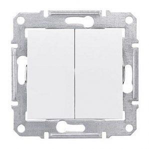 Выключатель двухклавишный Schneider Electric Sedna SDN0300121 71х71х42 мм белый