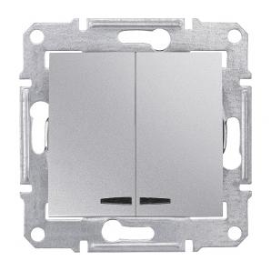 Выключатель двухклавишный Schneider Electric Sedna SDN0300360 синяя подсветка 71х71х42 мм алюминий