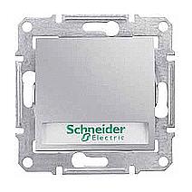 Выключатель кнопочный Schneider Electric Sedna SDN1600360 с надписью и подсветкой алюминий