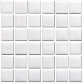 Мозаика стеклянная VIVACER NA101 на бумаге 327х327х4 мм белая