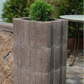 Цветочница квадратная Золотой Мандарин 500х400х250 мм коричневый на сером цементе