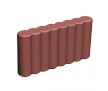 Поребрик фигурный круглый Золотой Мандарин на сером цементе 500х80х250 мм (RAL3001 красный)