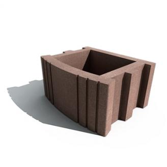 Цветочница квадратная Золотой Мандарин на сером цементе 500х400х250 мм коричневый