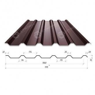 Профнастил Сталекс Н-33 1115/1060 мм 0,65 мм PE Польша (Acelor Mittal) (RAL8019/серо-коричневый)