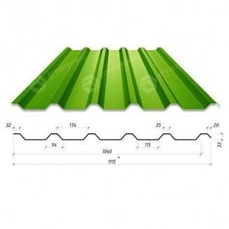Профнастил Сталекс Н-33 1115/1060 мм 0,65 мм PE Россия (Северсталь) (RAL6002/зеленый лист)