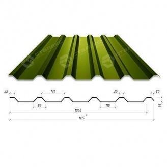 Профнастил Сталекс Н-33 1115/1060 мм 0,65 мм PE Россия (Северсталь) (RAL6020/хромово-зеленый)