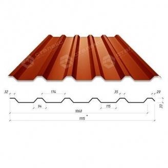 Профнастил Сталекс Н-33 1115/1060 мм 0,45 мм PEMA Корея (Dongbu) (RAL3009/оксид красный)