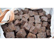 Гранітна бруківка з токівського граніту колота 8х8х8 см коричнева