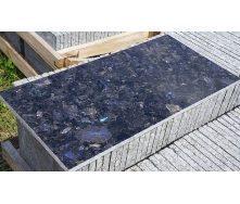 Плитка облицювальна Лабрадорит 20 мм темно-сіра з синею іррізацією