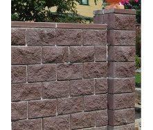 Блок декоративный для столба Золотой Мандарин М-200 (двухсторонний скол) 400х400х200 мм коричневый