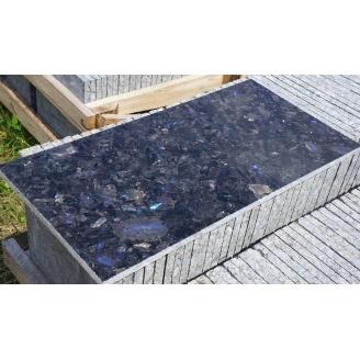 Плитка облицовочная Лабрадорит 20 мм темно-серая с синей ирризацией