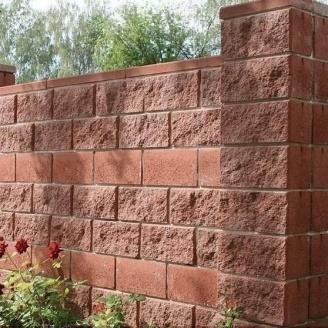Блок декоративный для столба Золотой Мандарин М-200 (двухсторонний скол) 400х400х200 мм бордовый