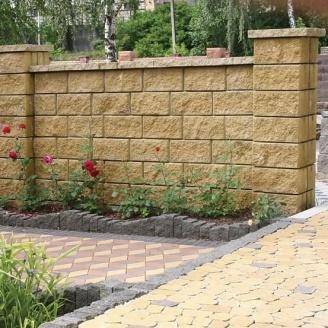 Блок декоративный для столба Золотой Мандарин М-200 (двухсторонний скол) 400х400х200 мм горчичный