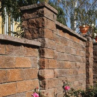 Камень для забора Золотой Мандарин (двухсторонний скол) 350х180х150 мм персиково-коричневый