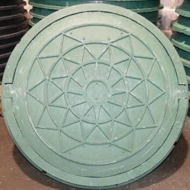 Каналізаційний люк полімерпіщаний із замком 1 т зелений