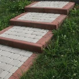 Тротуарна плитка Золотий Мандарин Старе місто 120х60 мм на білому цементі білий