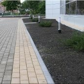 Тротуарная плитка Золотой Мандарин Кирпич стандартный 200х100х60 мм на сером цементе персиковый