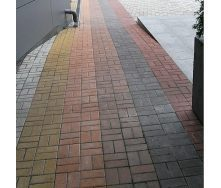 Тротуарна плитка Золотий Мандарин Цегла стандартна 200х100х40 мм коричневий на білому цементі