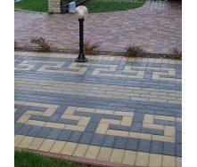 Тротуарна плитка Золотий Мандарин Цегла стандартний 200х100х40 мм чорний на білому цементі