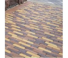 Тротуарная плитка Золотой Мандарин Барселона Антик 192х45х60 мм коричневый на сером цементе