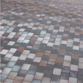 Тротуарна плитка Золотий Мандарин Цегла без фаски 200х100х60 мм на сірому цементі коричневий