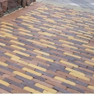 Тротуарна плитка Золотий Мандарин Барселона Антик 192х45х60 мм коричневий на сірому цементі