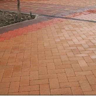 Тротуарная плитка Золотой Мандарин Кирпич без фаски 200х100х60 мм на сером цементе персиковый