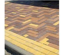 Тротуарна плитка Золотий Мандарин Цегла вузька 210х70х60 мм жовтий на сірому цементі
