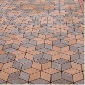 Тротуарная плитка Золотой Мандарин Ромб 150х150х60 мм на сером цементе персиковый