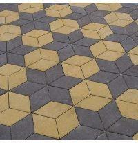 Тротуарная плитка Золотой Мандарин Ромб 150х150х60 мм желтый на сером цементе